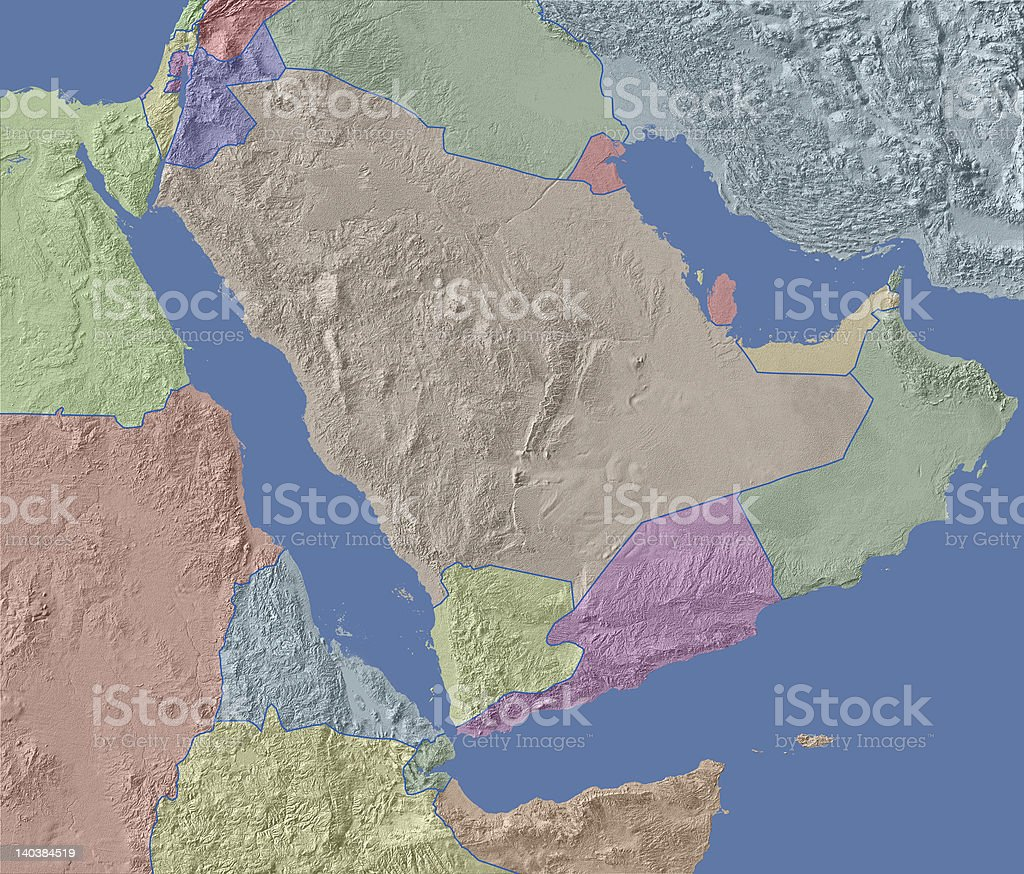 arabia map with relief and political borders stock photo