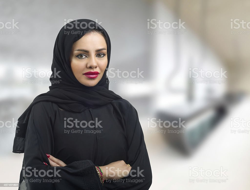 Arabian Business Woman with her arms crossed stock photo