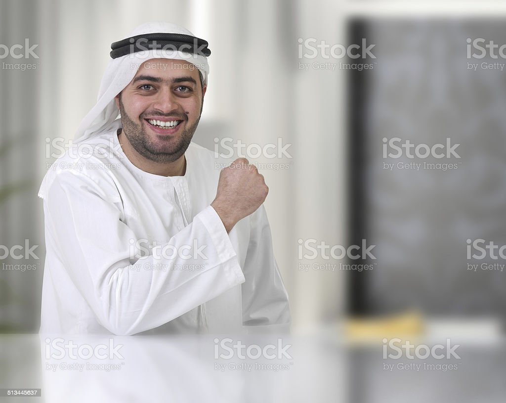 arabian businessman working in his office stock photo