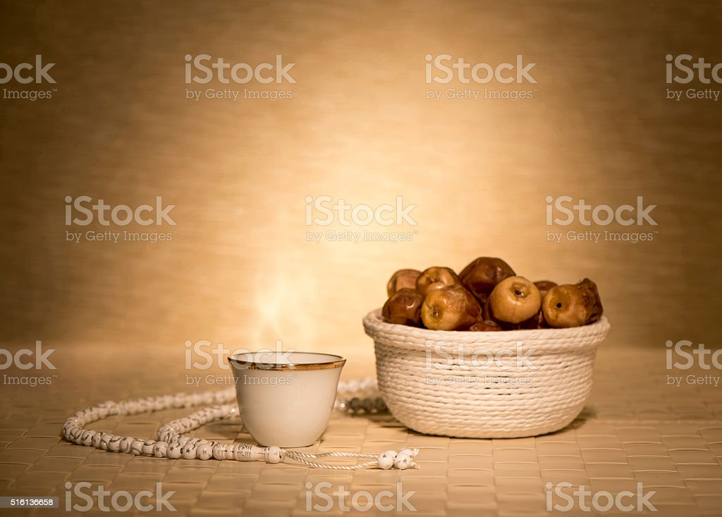 Arabian coffee with dates stock photo
