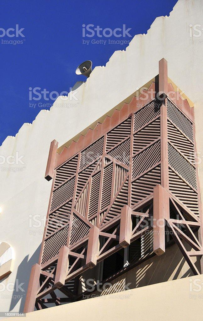 arabian enclosed wooden oriel window, Mashrabiya or Shanasheel stock photo