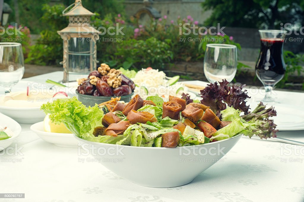 Arabian food of fattoush, dates, jalab served in Ramadan stock photo