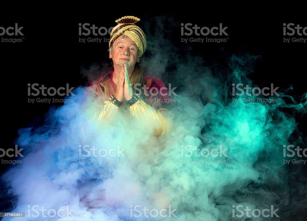 Arabian ghost in the mist stock photo