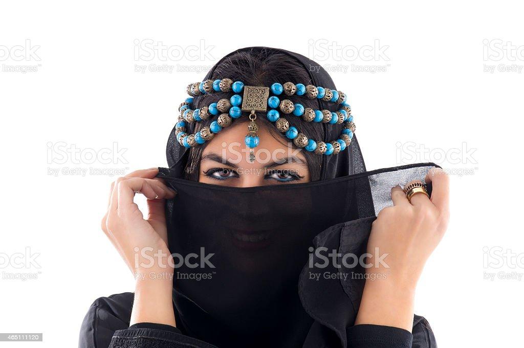Arabian Girl wearing Traditional Headscarf, Beautiful tribal woman stock photo
