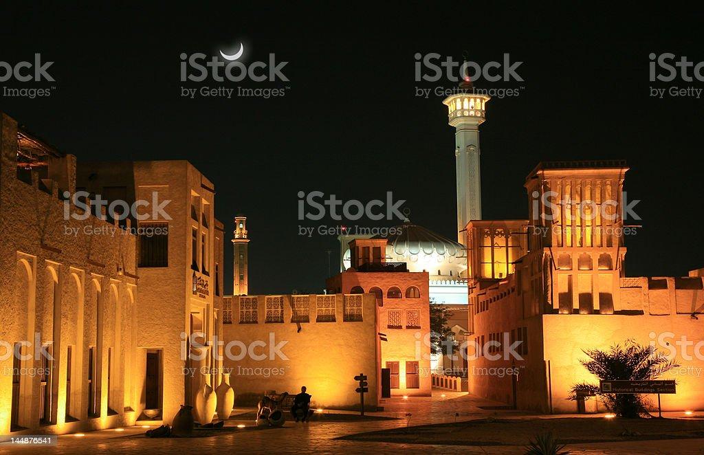 Arabian house at night stock photo
