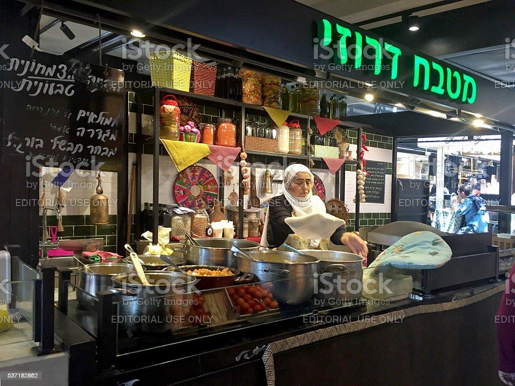 Arabian street food cafe, Tel Aviv, Israel. stock photo