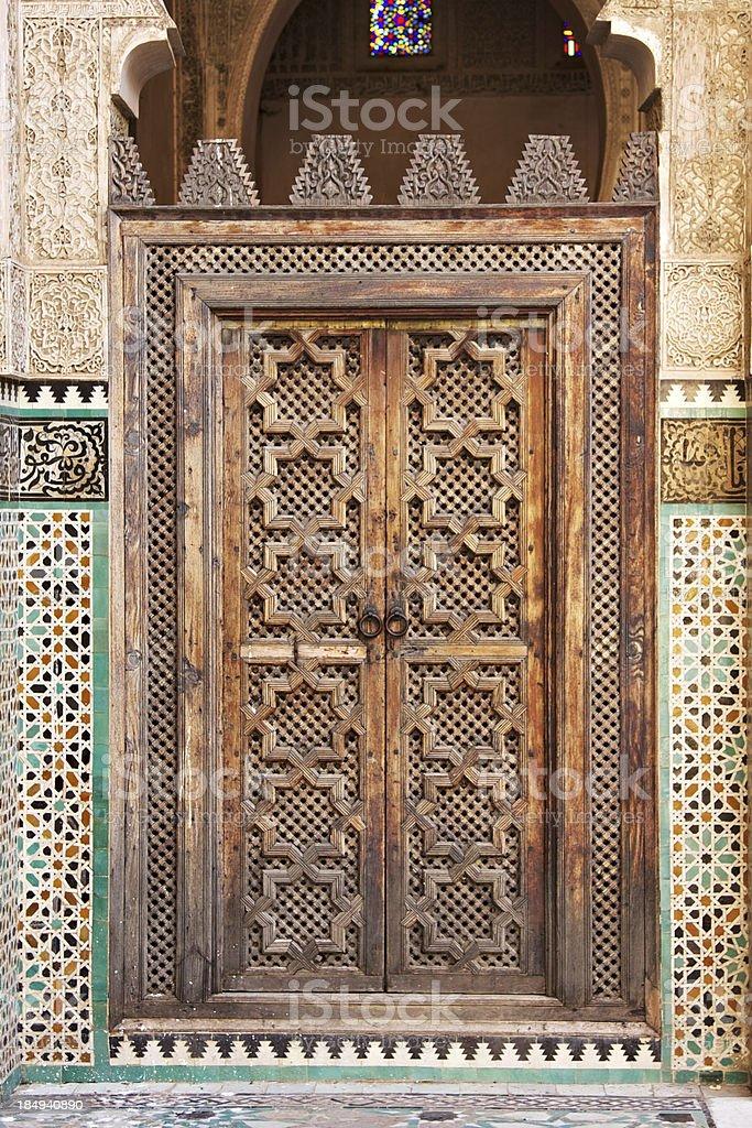 Arabian style door in Fez. Morocco. royalty-free stock photo