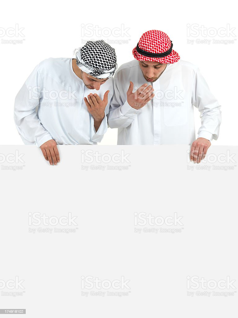 Arabian Young Adult Man and Blank royalty-free stock photo