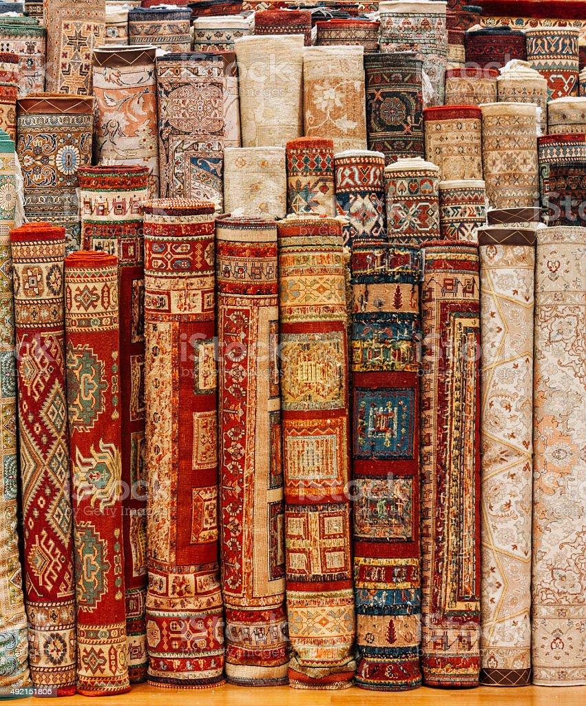 arabic carpet store, tourism travel destination stock photo
