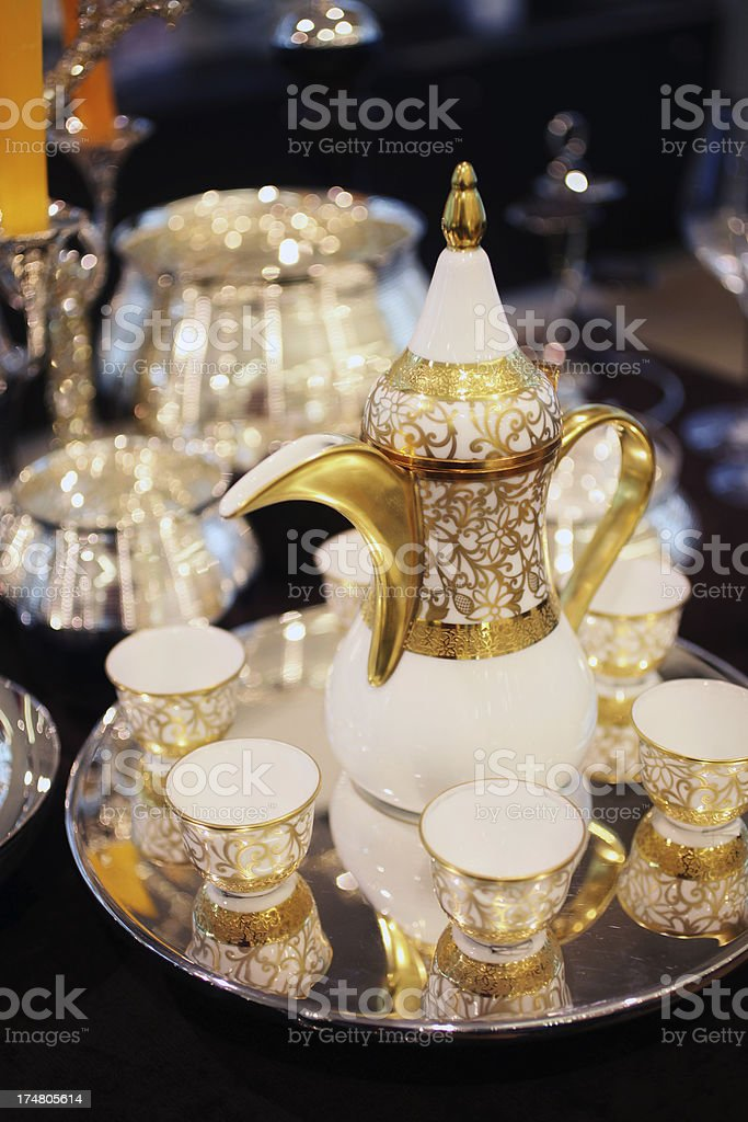Arabic Coffee pot and cups set royalty-free stock photo