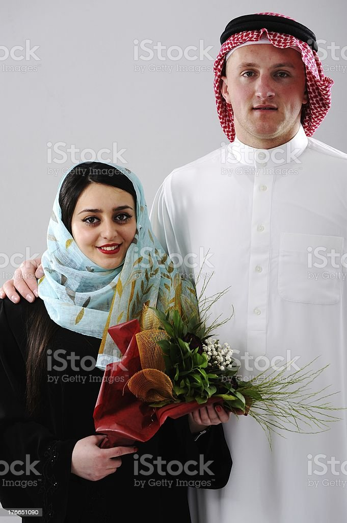 Arabic couple, wife and husband royalty-free stock photo