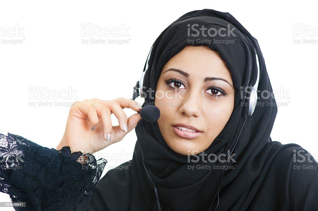Arabic customer service girl royalty-free stock photo