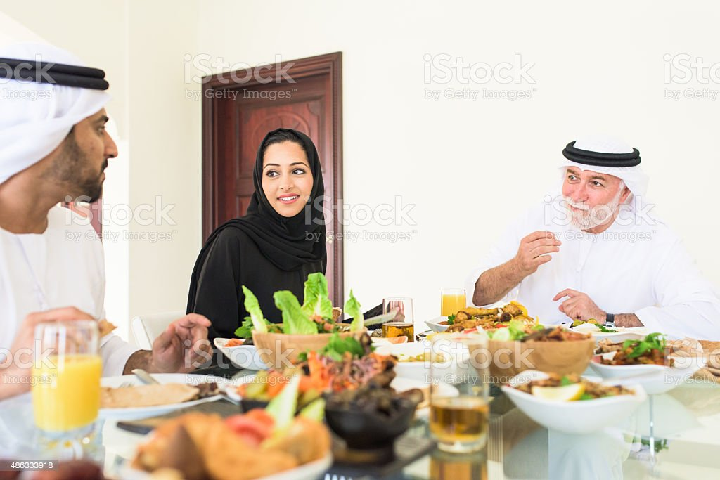 Arabic family Enjoying lunch stock photo