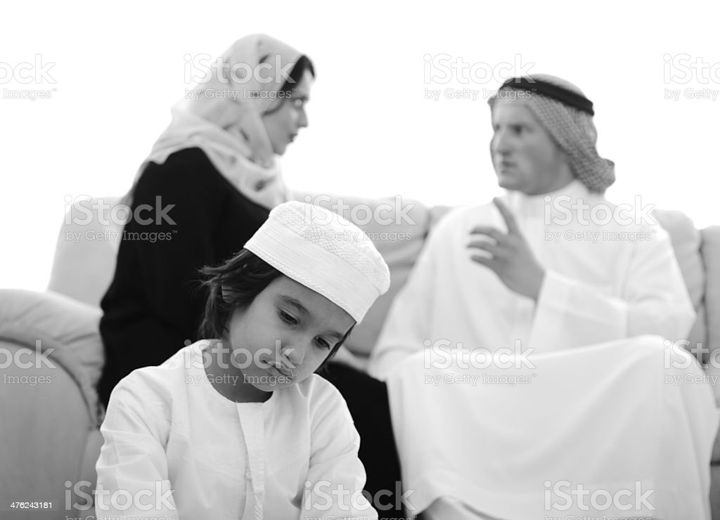 Arabic family fighting at home royalty-free stock photo