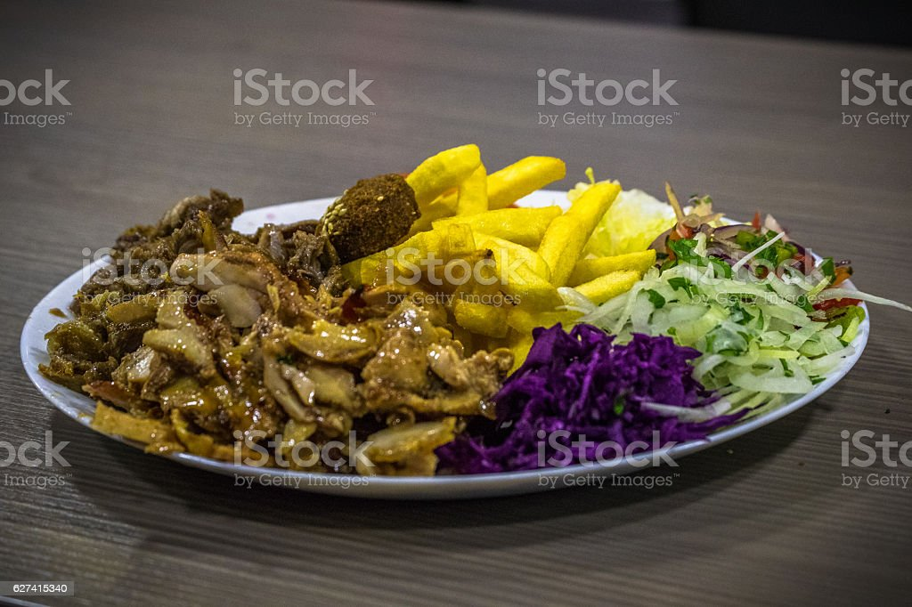 Arabic Food Shawarma with Chips stock photo