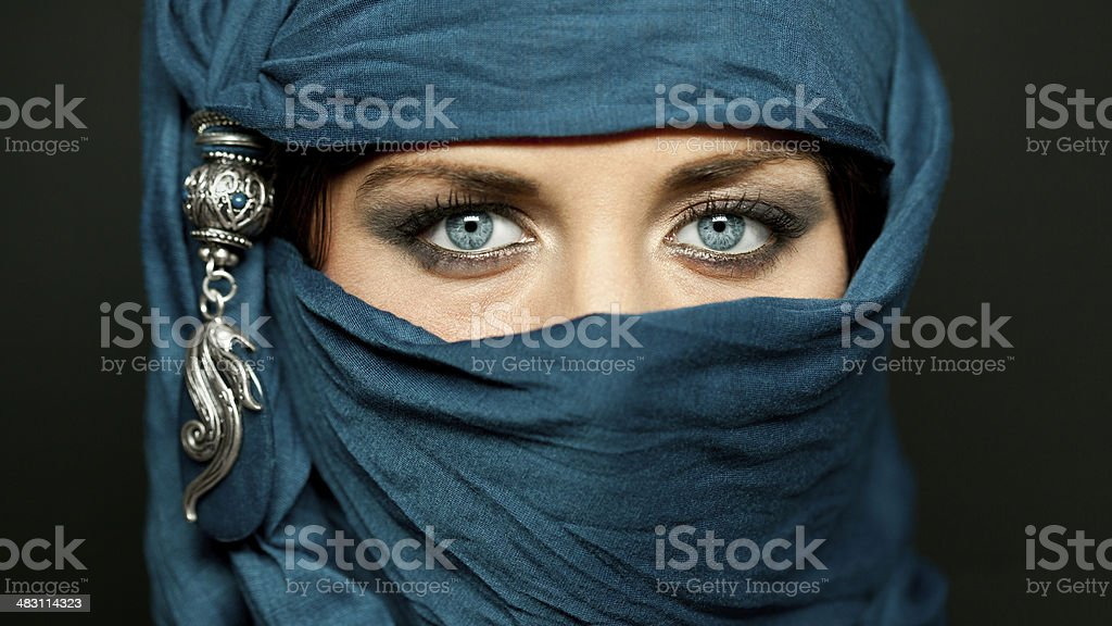 Arabic girl glance stock photo
