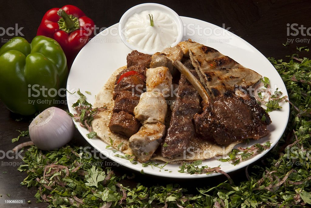 Arabic grilled meat plate stock photo