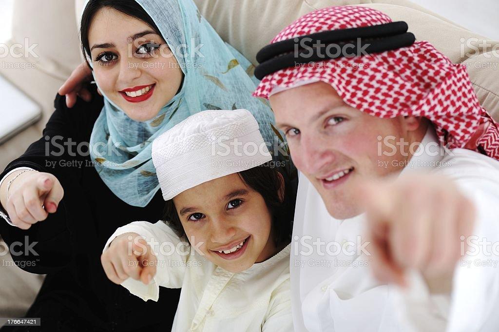 Arabic happy family at home royalty-free stock photo