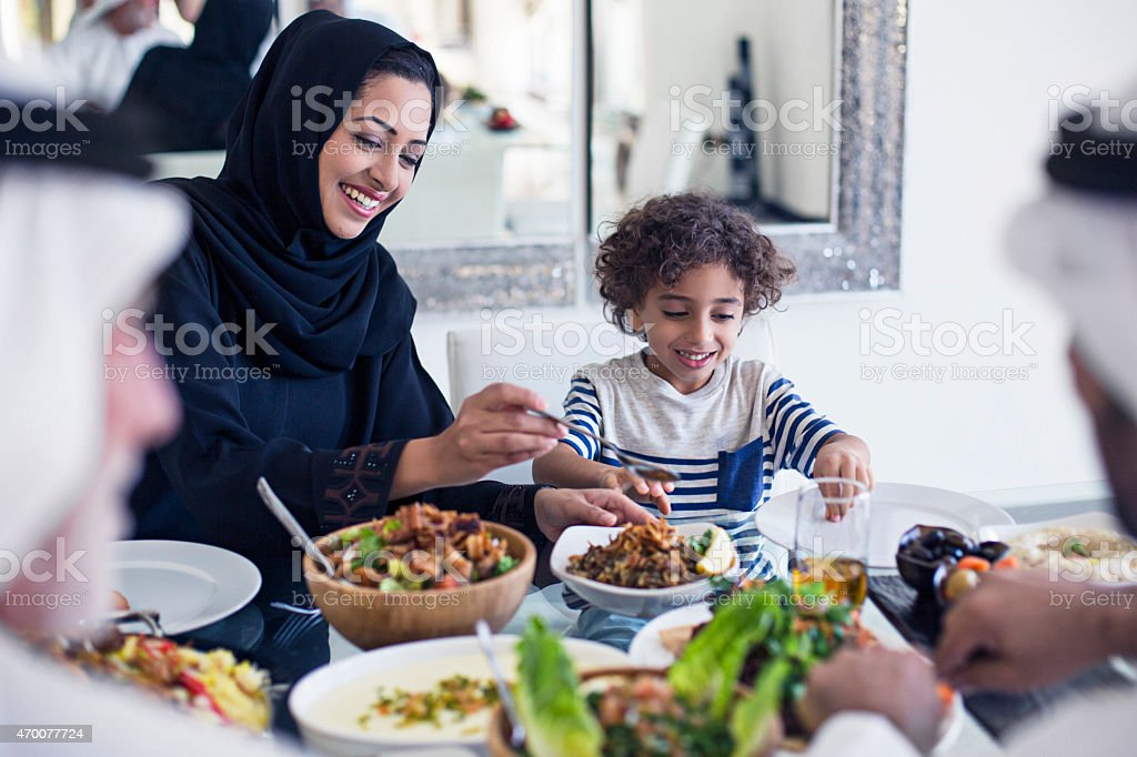 Arabic lunch time stock photo