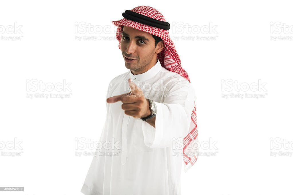 Arabic man pointing royalty-free stock photo