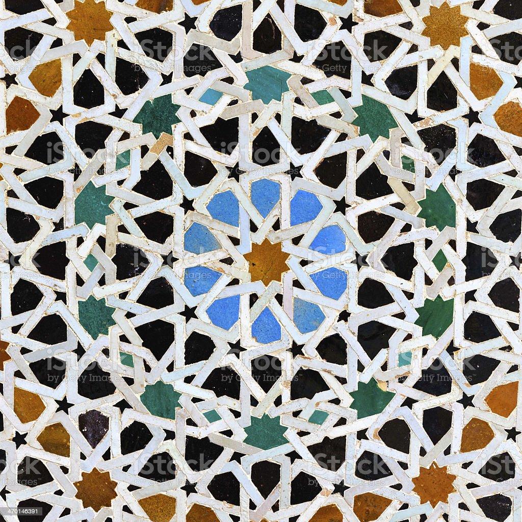 Arabic mosaic in  Attarin Medersa, Fes, Morocco royalty-free stock photo