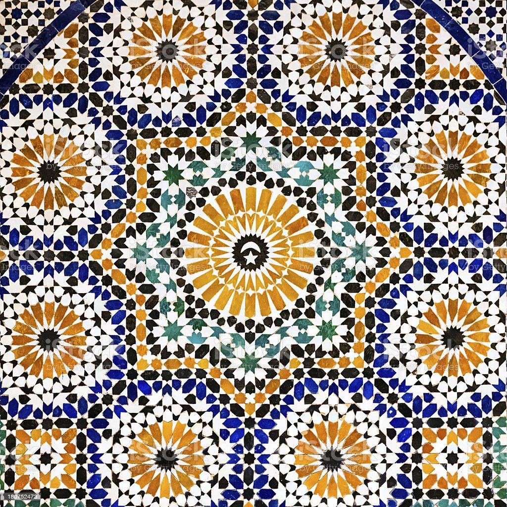 Arabic mosaic in Madressa Ali Ben Youssef, Marrakech Morocco stock photo