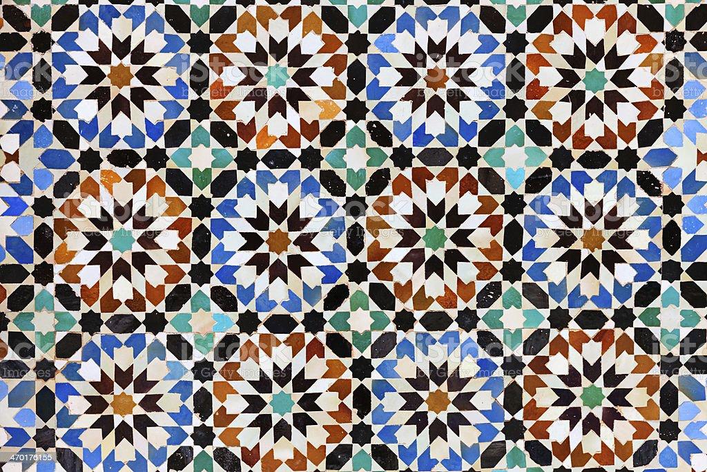 Arabic mosaic in Madressa Ali Ben Youssef, Marrakech Morocco royalty-free stock photo