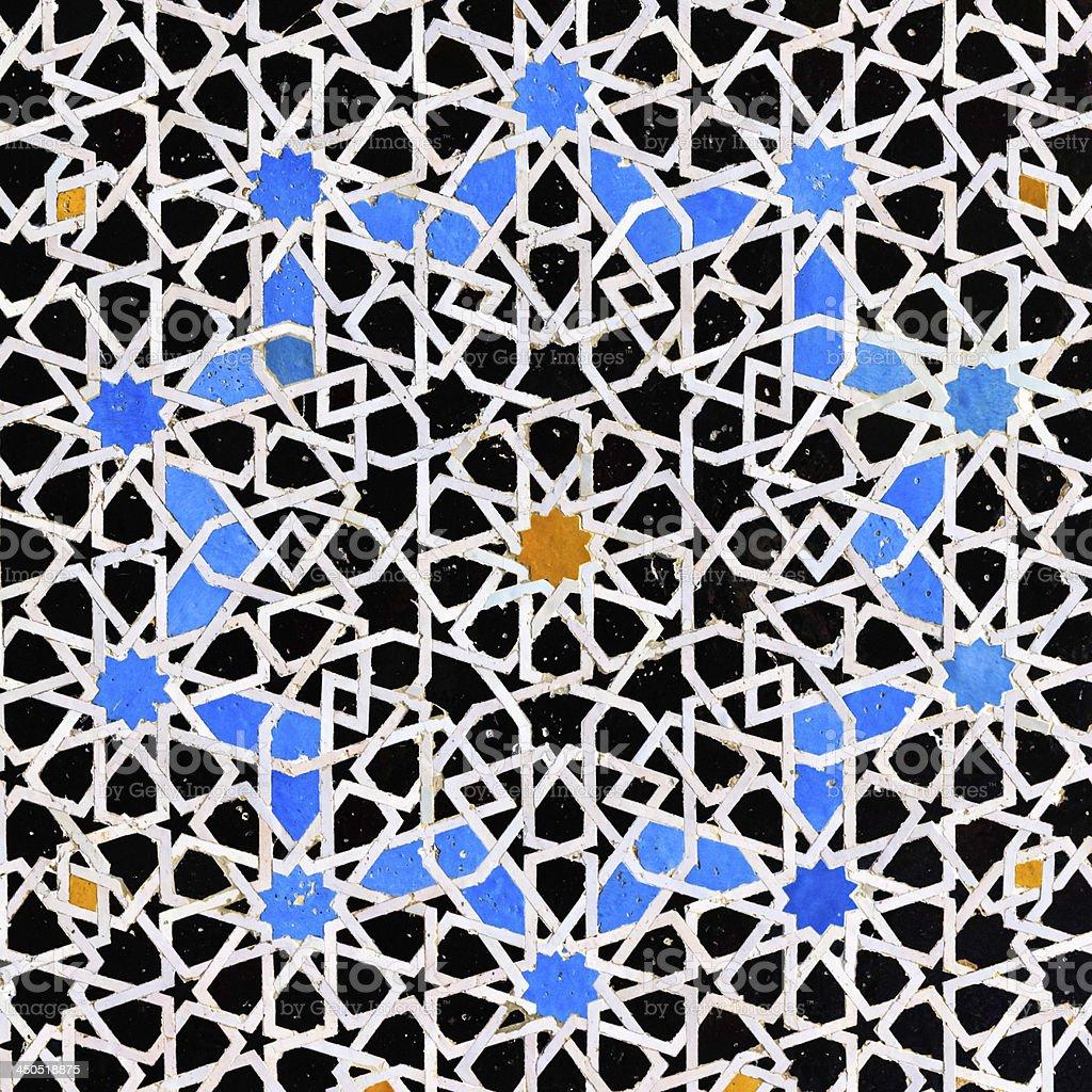 Arabic mosaic inside medina of  Fes, Morocco stock photo