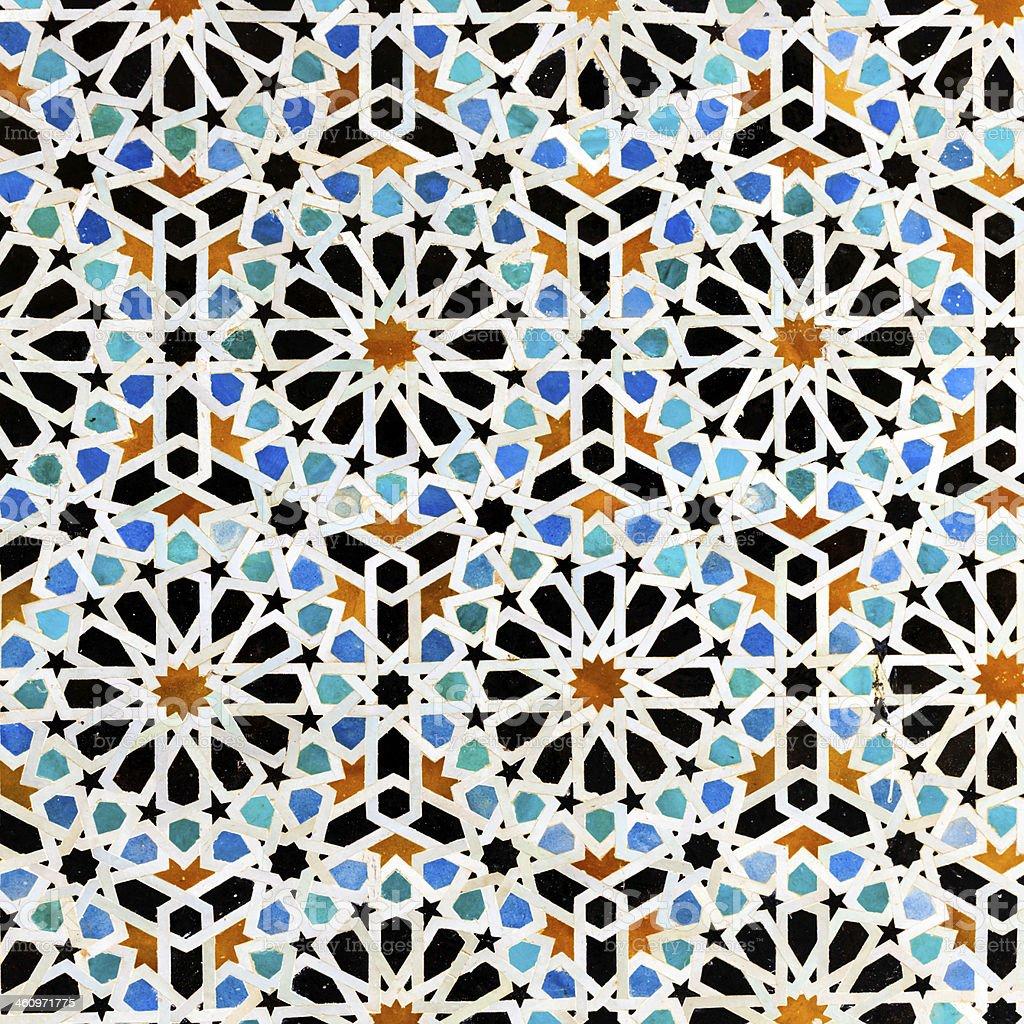 Arabic mosaic inside medina of  Fes, Morocco royalty-free stock photo