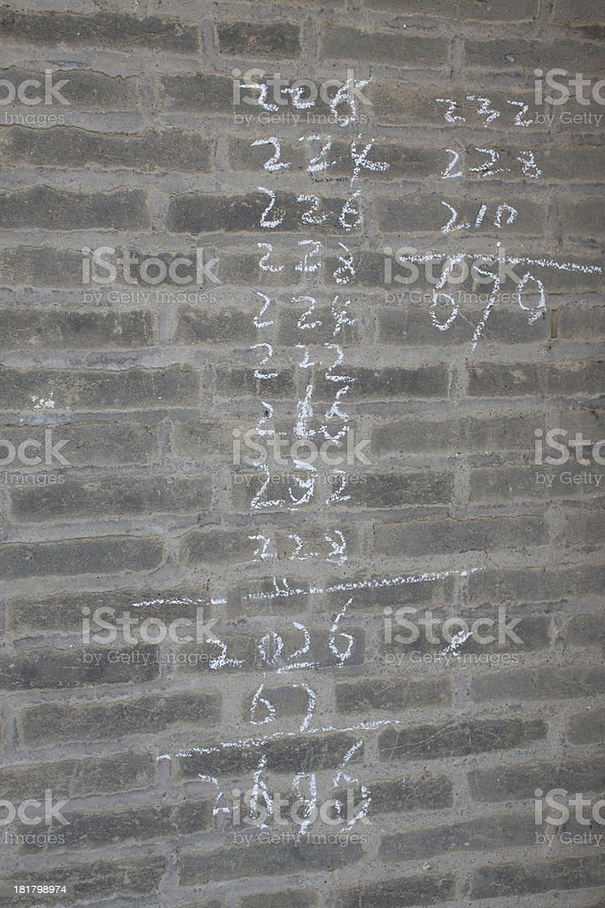 arabic Numbers in the grey wall royalty-free stock photo
