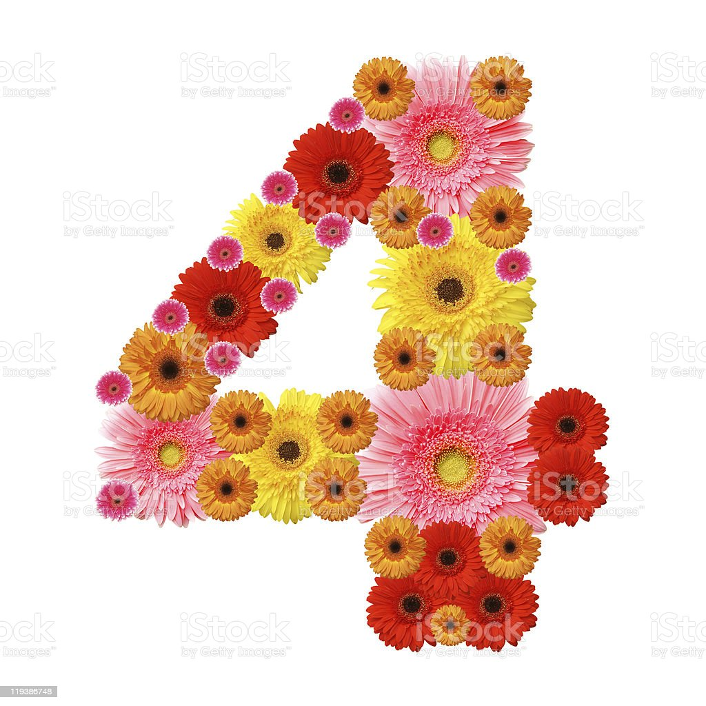 Arabic numeral 4 made of flowers stock photo