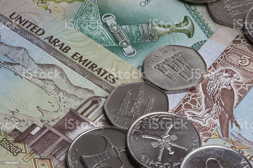 Arabic paper currency and coins royalty-free stock photo