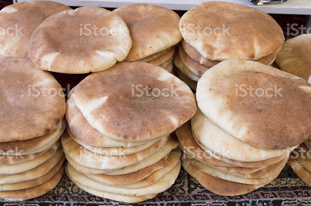 arabic pita bread stock photo