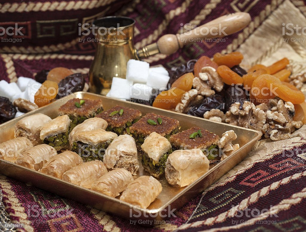 Arabic seets with coffe pot in background royalty-free stock photo