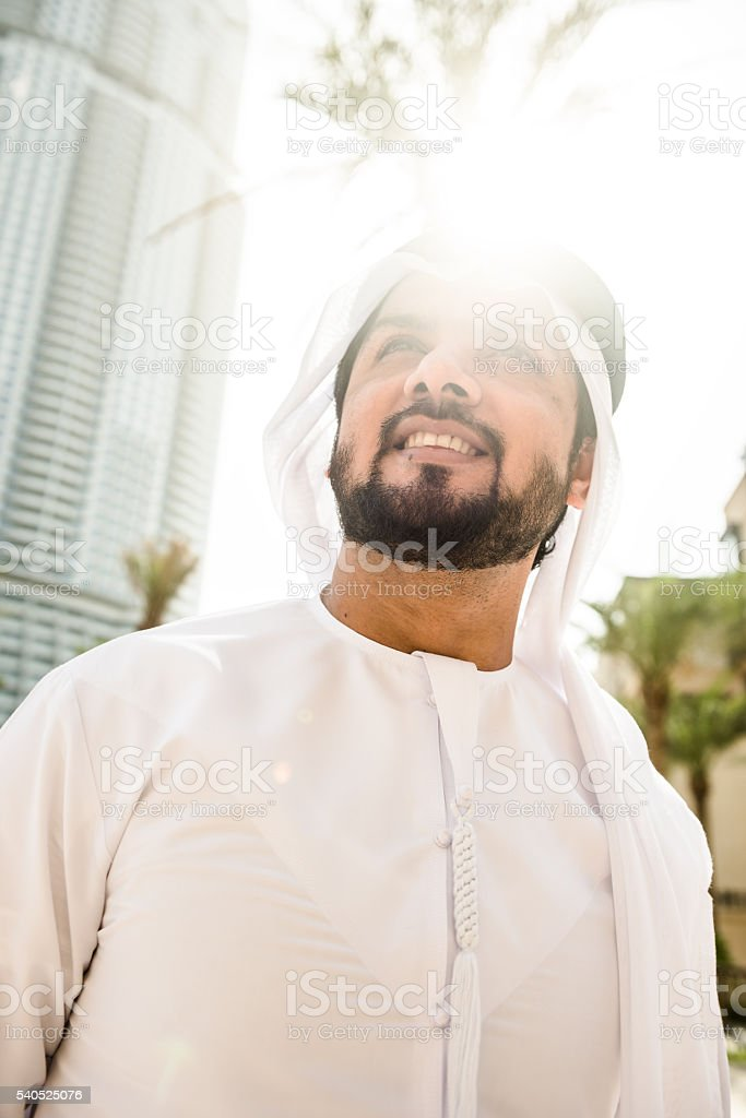 arabic sheik portrait smiling stock photo