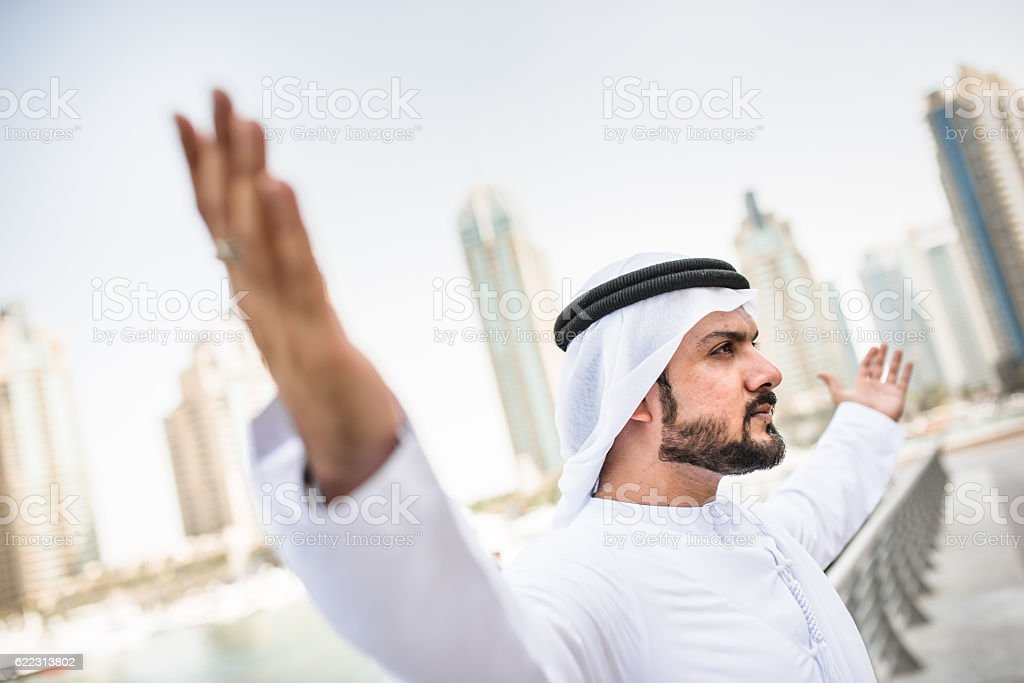 arabic sheik portrait winning in dubai stock photo
