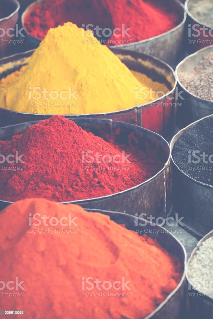 Arabic spices at traditional market. Morocco. Africa. stock photo