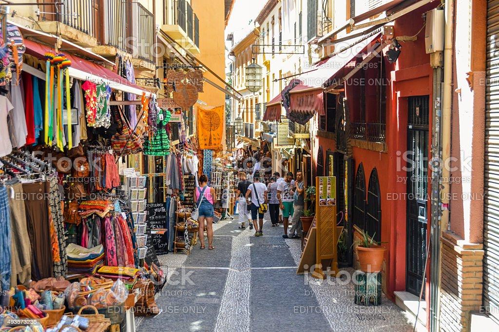 Arabic street market in Granada, Spain stock photo