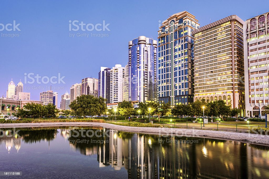 Arabic Style Highrise Buildings in Abu Dhabi royalty-free stock photo