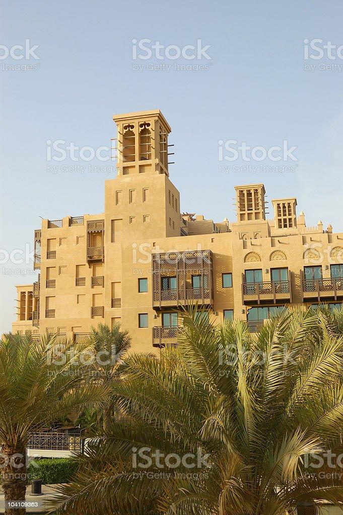 Arabic style hotel at sunset, Dubai, UAE royalty-free stock photo