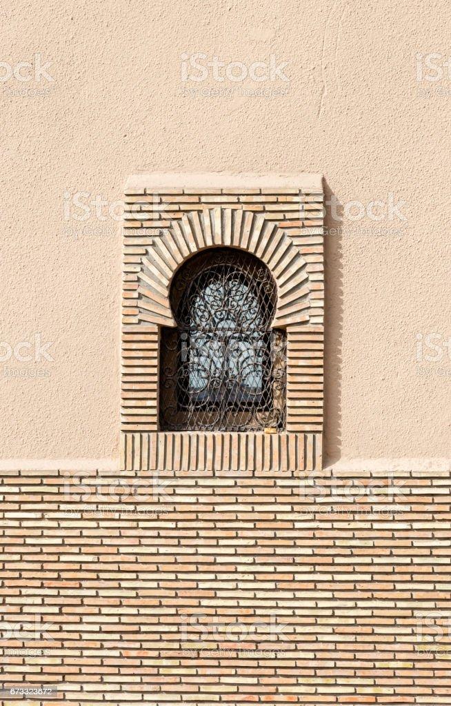 Arabic style windows in Marrakesh stock photo