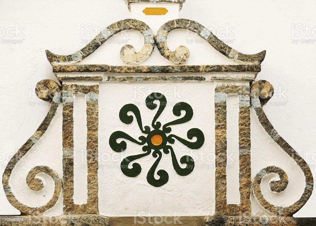 Arabische symbol & Dekorative architektonische details an der Wand Lizenzfreies stock-foto