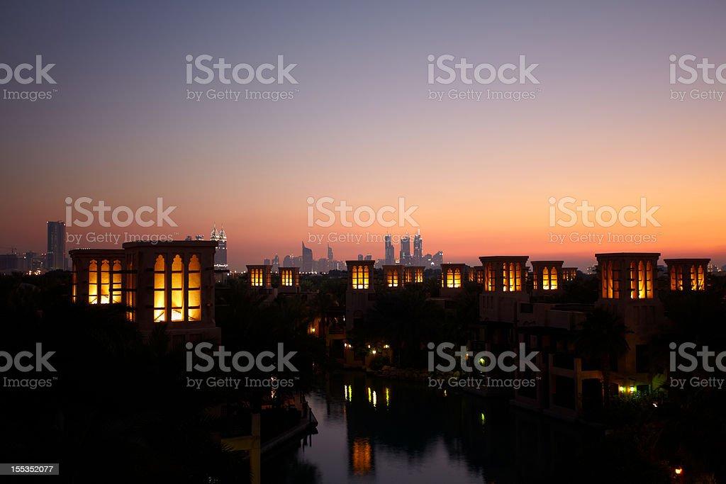 Arabic Wind Tower at Madinat, Dubai royalty-free stock photo