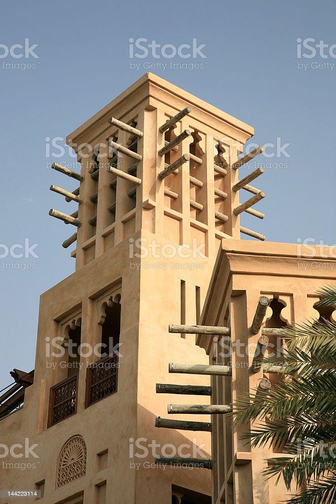 Arabic Wind Tower in Dubai stock photo