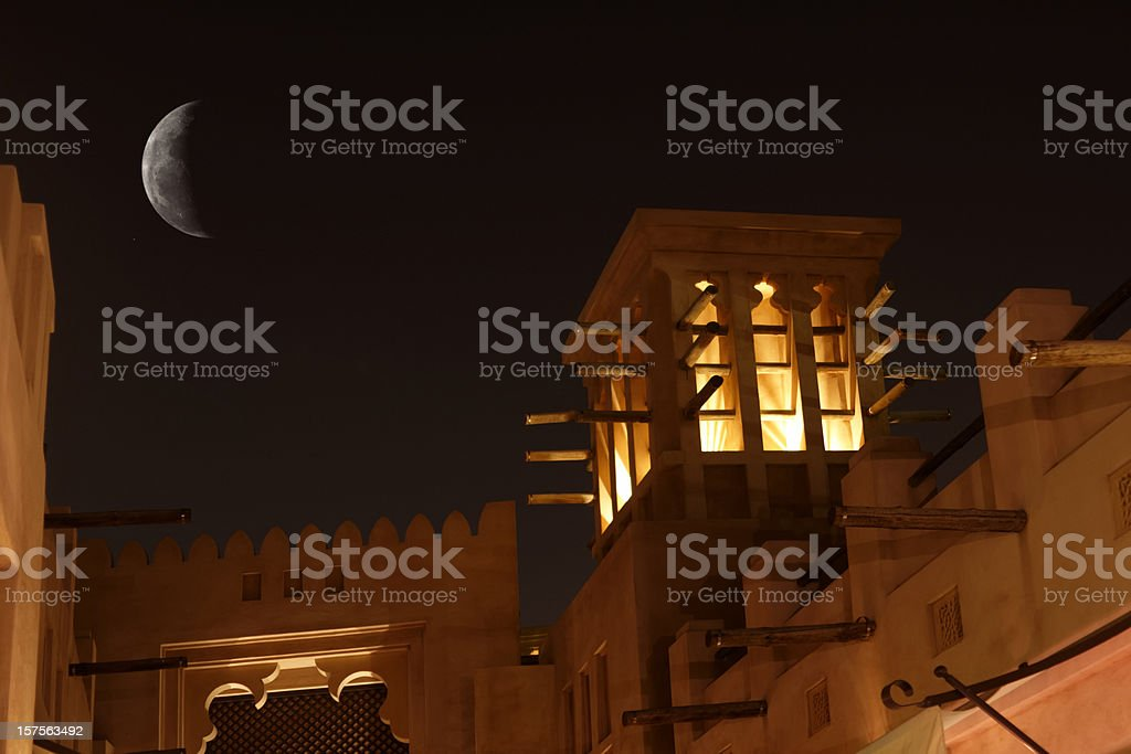 Arabic Wind Tower in the night royalty-free stock photo