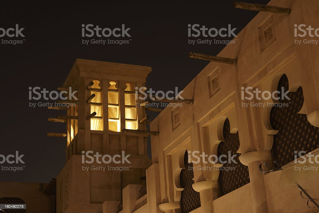 Arabic Wind Tower in the night stock photo