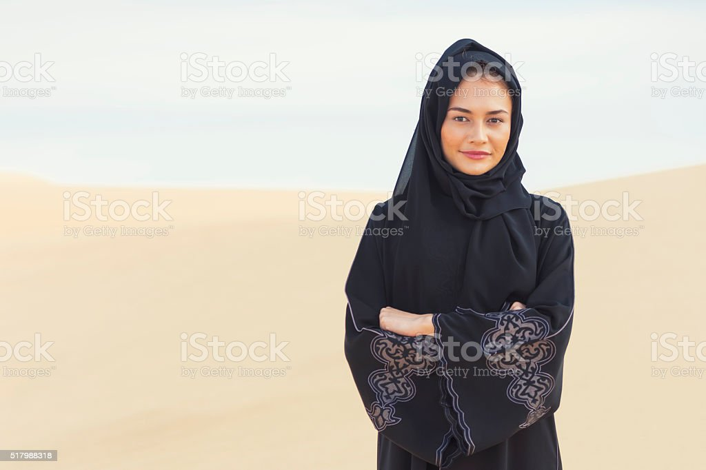 Arabic woman in traditional clothes stock photo