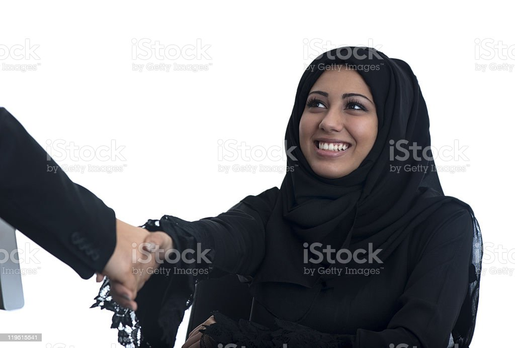 Arabic Woman Shaking Hands royalty-free stock photo