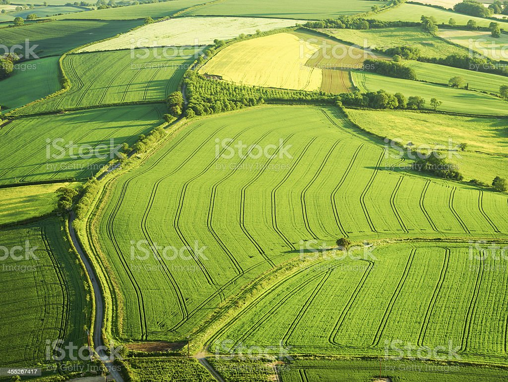 Arable fields from the air stock photo