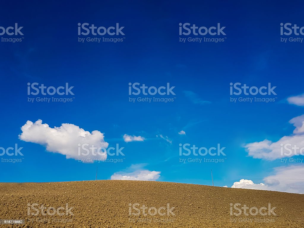 Arable land in Tuscany, Italy stock photo